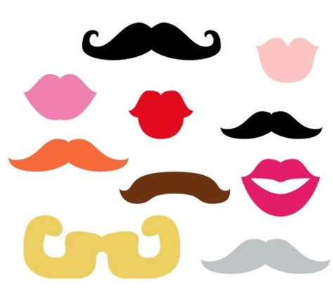 Free Printable Moustache And Lips Photo Booth Props | round up free printable photobooth props creative juice