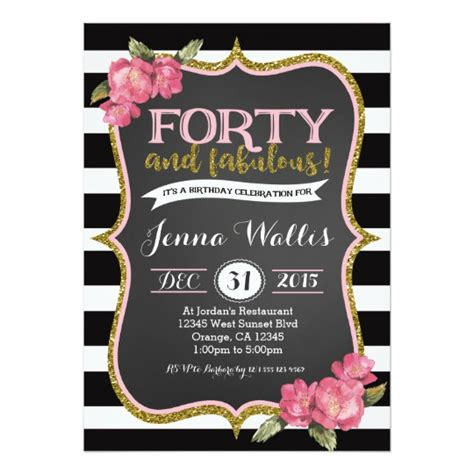 40th birthday invitation templates free 40th forty fabulous birthday invitation zazzle