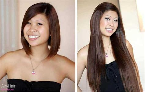 before and after clip on extensions short hair hair extensions before after images medium and short hair