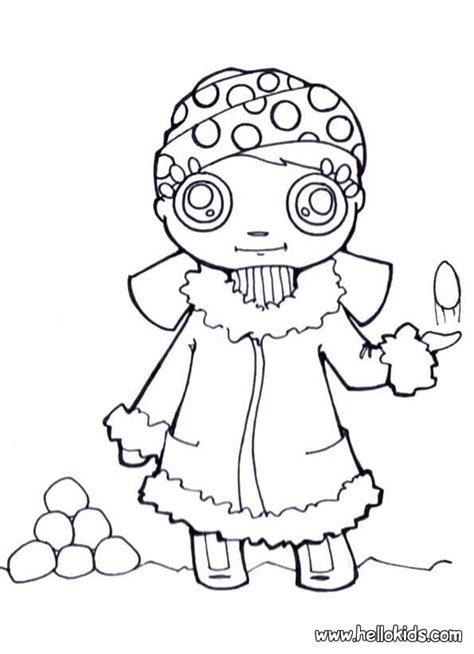 girl winter coloring page girl with snowballs coloring pages hellokids com