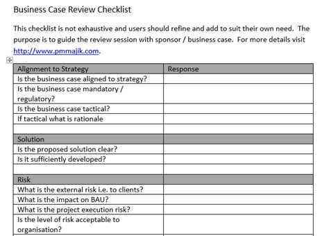 business checklist template pmo business review checklist inc free template