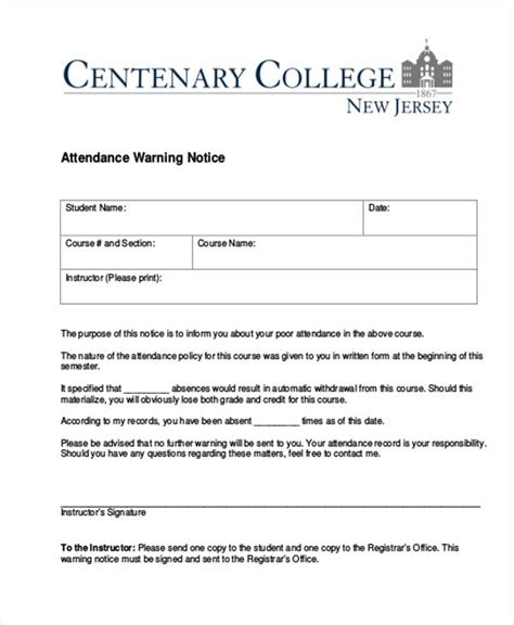 attendance warning letter template word