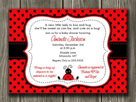 Ladybug Baby Shower Invitation Printable Free Printable Ladybug Baby Shower Invitations Templates