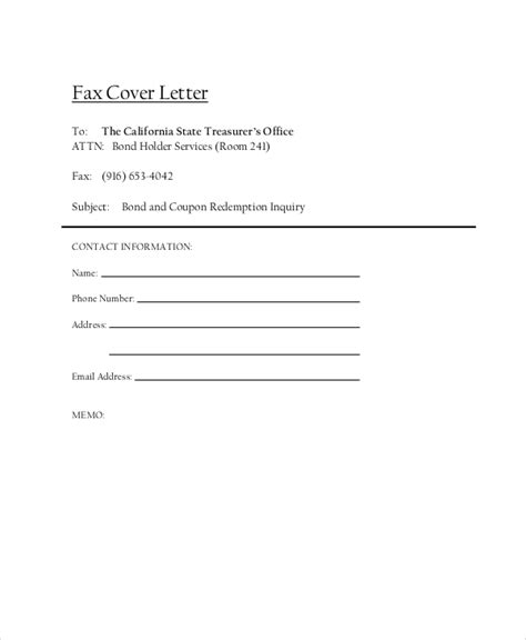 Fax Cover Letter   8  Free Word, PDF Documents Download