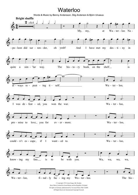 Waterloo Partituras | ABBA | Grabadora