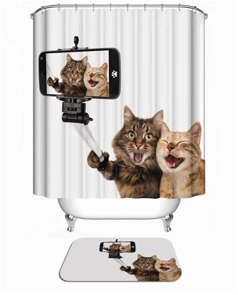 New Funny Dog Shower Curtain 3d Christmas Home Waterproof Cat Bathroom Accessories