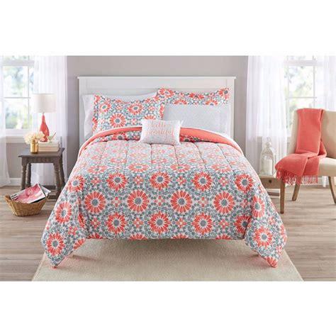 coral twin xl comforter 6 8 pieces kids coral medallion girls orange bedding set