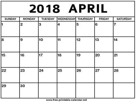 april 2018 calendar april 2018 calendar print calendar from free printable