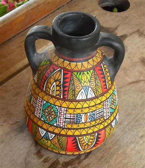 vintage clay pottery vase with handles black painted
