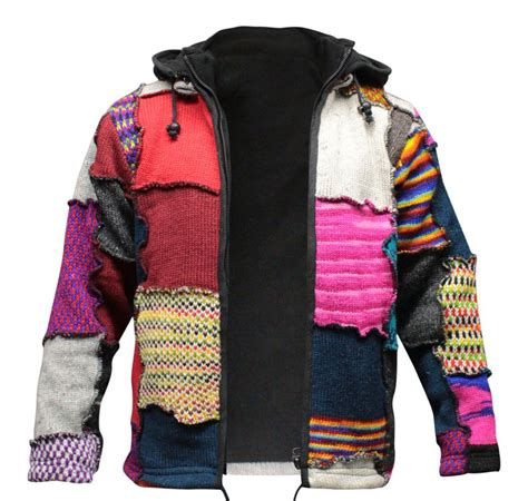 Patchwork Jacket Mens - s tye dye patchwork hippie jacket fleece lined