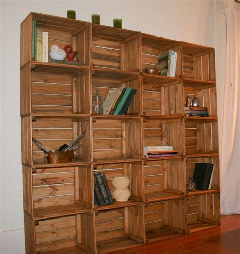 reclaimed wood crate bookshelf stylized storage