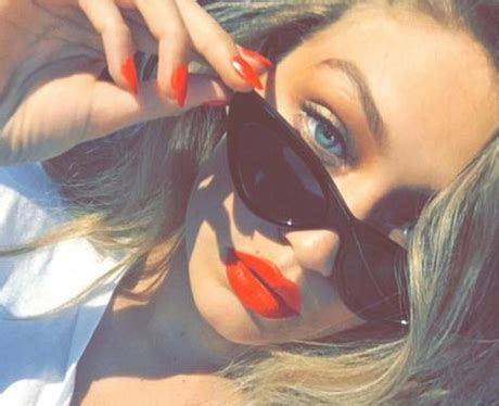 gigi hadid on instagram gigi hadid shows off her matching nails and lips look for