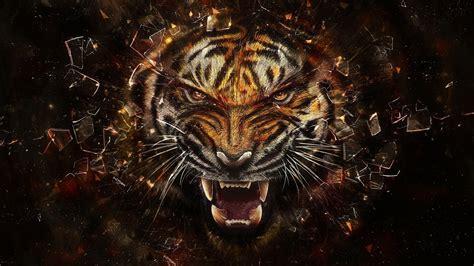 tiger glass broken glass shards face teeth animals