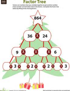 Fourth grade math worksheets fill in the factor tree