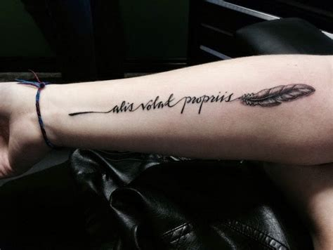 feather tattoo on arm meaning cute little feather with quote tattoo on arm