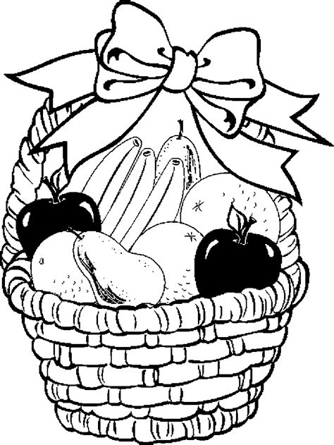 free coloring pages of fruit in a bowl