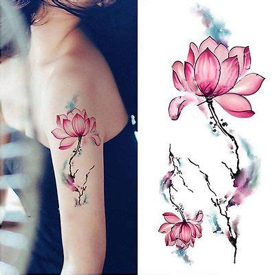 Lotus Waterproof Temporary blue watercolor lotus flower temporary waterproof