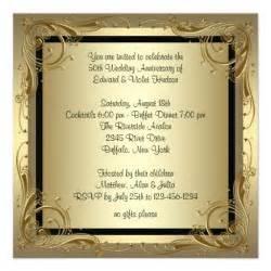 50th wedding anniversary invitations gold 50th wedding anniversary 5 25 quot square