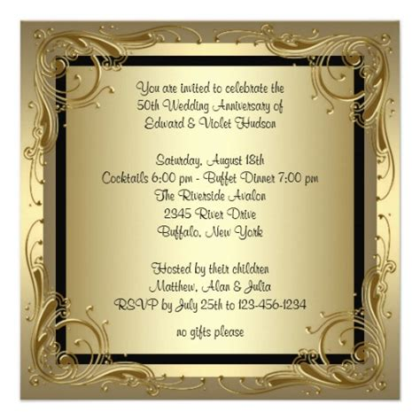 50th anniversary invitations templates gold 50th wedding anniversary 5 25 quot square