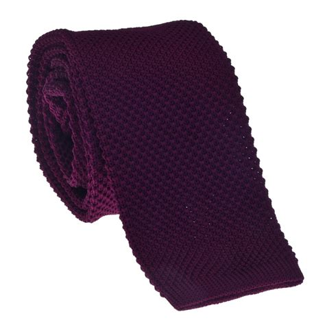 burgundy polyester knitted tie towler taggs of mayfair