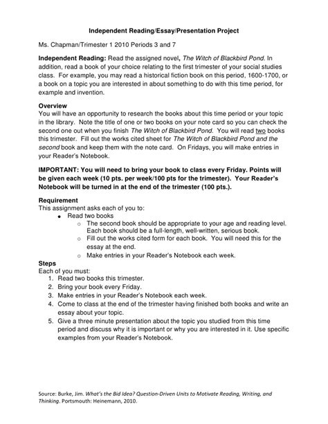 Essay About Reading And Writing by Independent Reading Essay Presentation Assignment8