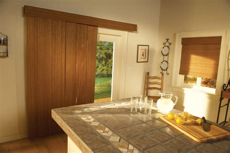 Patio Doors Island Astounding Handmade Woven Wood Shades With Brown Curtains