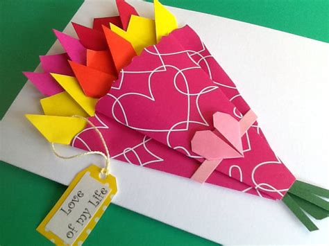Origami Birthday Card - origami flower card bouquet success birthday card for