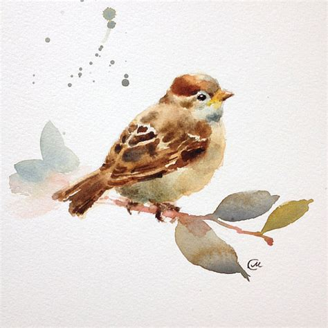 Essay On The Bird Sparrow by Baby Sparrow Bird Watercolor Original Painting 7 4 5 X 7 4 5
