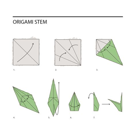 Flower Stem Origami - origami flower stem for comot