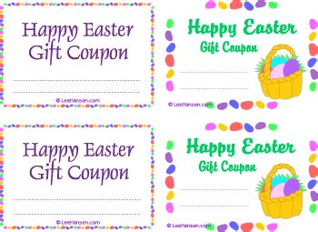 easter gift card template printable gift certificates coupons ious gift checks