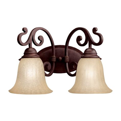 Traditional Vanity Lights Shop Kichler Lighting 2 Light Wilton Carre Bronze Traditional Vanity Light At Lowes