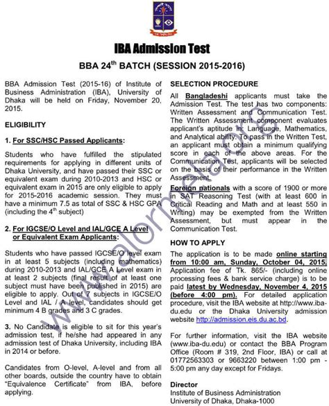 Du Iba Mba Admission by Iba Bba Admission 2015 2016 Circular Of Dhaka