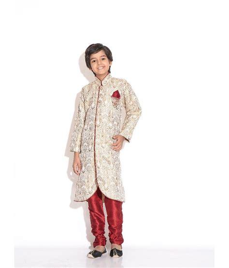riwaaz cream mehroon color kurta pajama set with jacket riwaaz fone mehroon color kurta pajama set for kids