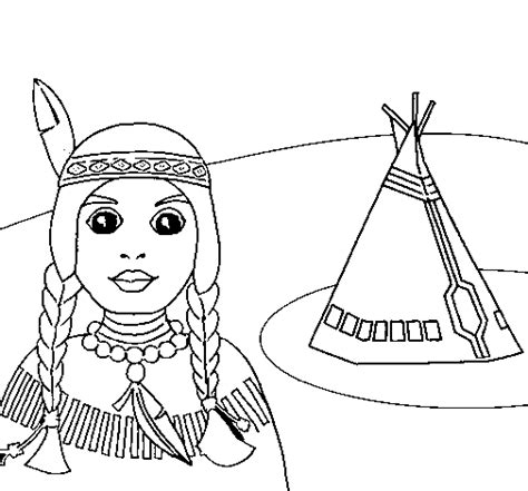 Colored Page Indian And Teepee Painted By Teepee Coloring Pages