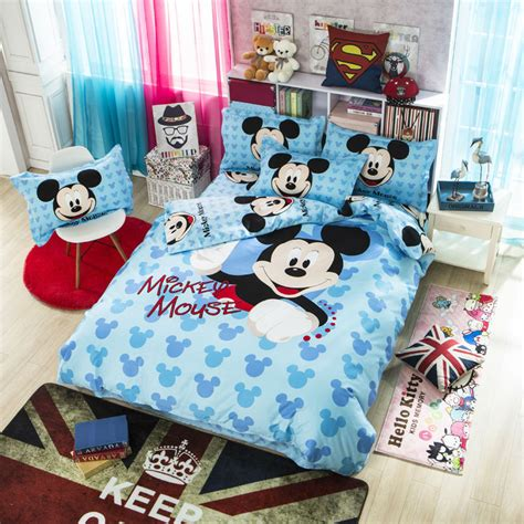 Mesin Cuci Untuk Bed Cover mickey mouse bedding set 4pcs cotton duvet cover