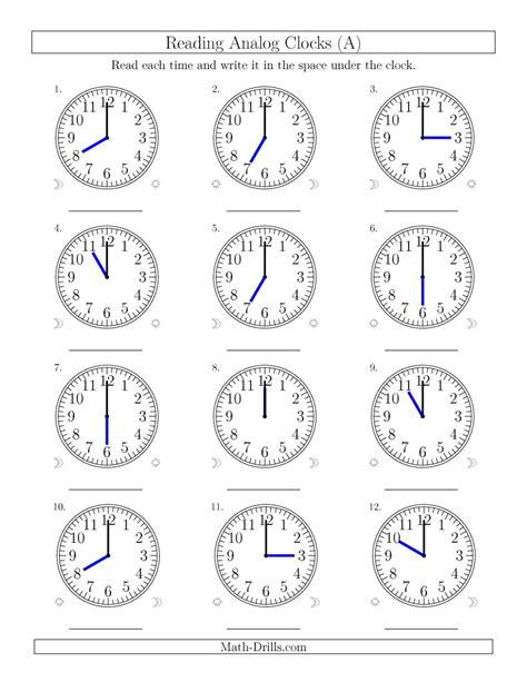 clock worksheets on the hour reading time on 12 hour analog clocks in one hour