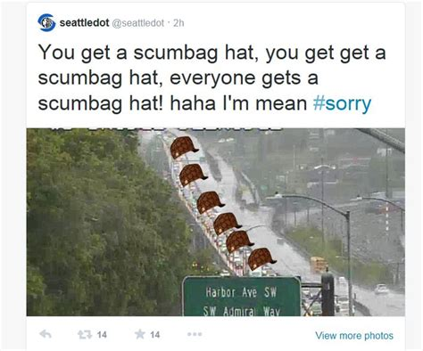 Brown Hat Meme - seattle dot assigns stuck drivers a scumbag hat the