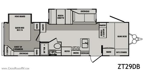 zinger travel trailers floor plans 2010 crossroads zinger zt29db travel trailer unit details