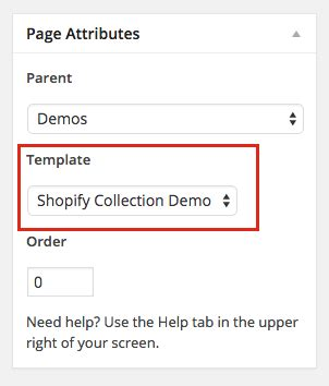 page template code using the shopify api with