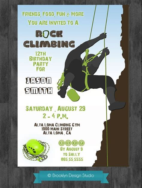 Rock Climbing Party Invitation Invitations And Announcements Pinterest Rock Climbing Rock Climbing Log Book Template