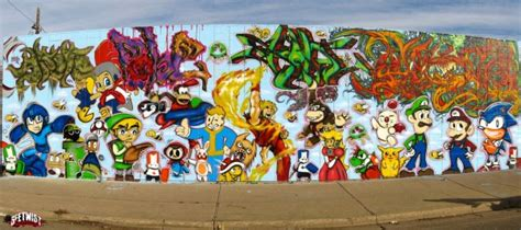 Wall Murals Los Angeles gaming graffiti mural features all of our favorites gearfuse