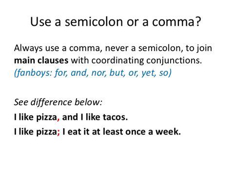 comma or semicolon semicolon quick review