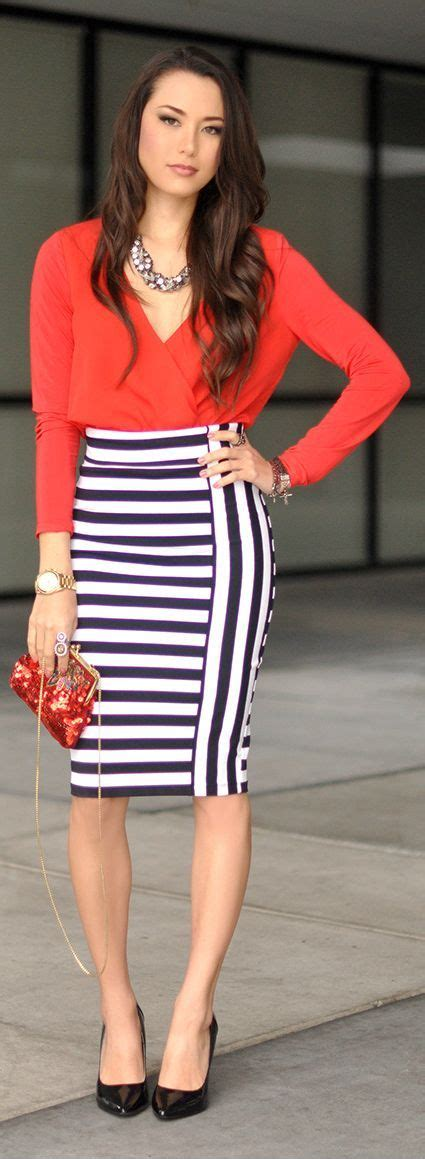 Pencil Skirt And Blouse Combo by S Sleeve Blouse White And Navy Horizontal