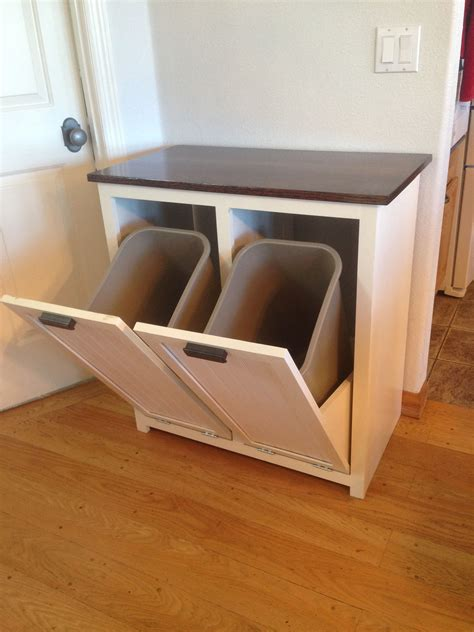 diy hidden trash can cabinet a tilt out garbage and recycling cabinet people
