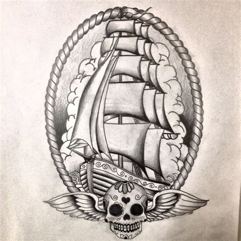 ship tattoo design pirate ship drawing