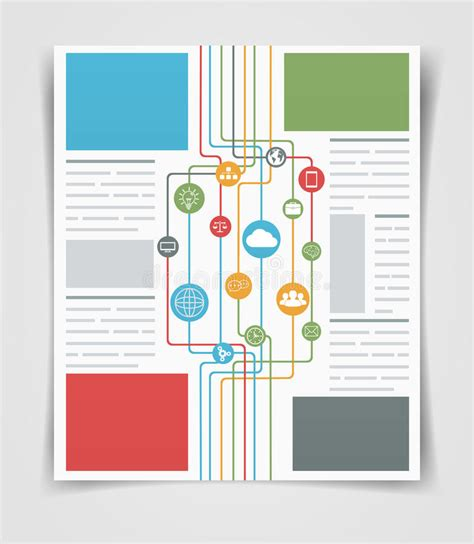Layout Business Flyer Or Brochure Network Connections Web Template Stock Vector Image 49368706 Information Booklet Template