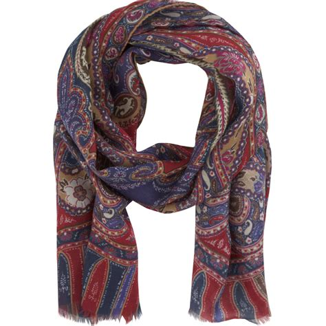 etro paisley scarf in purple for lyst