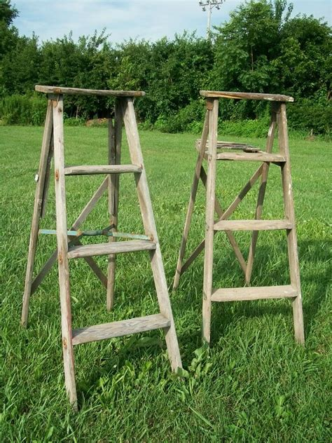 vintage wooden  step ladder  decorating wood surface