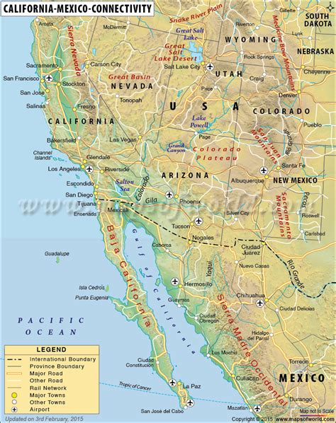 Map of California and Mexico