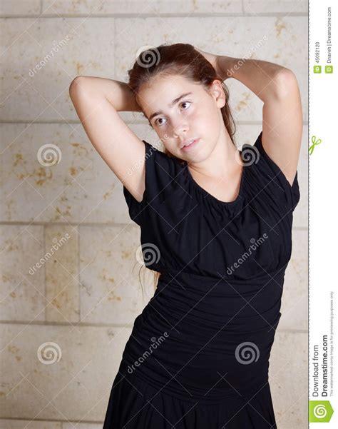 Bat Mitzvah Girl In Black Dress Stock Photo   Image: 45092120